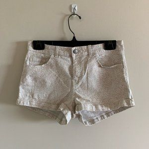 H&M Neutral Tan Patterned Jean Shorts High Rise